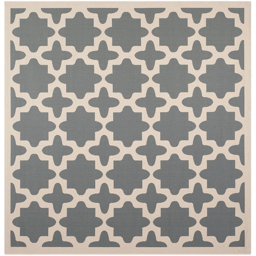 Safavieh Carpette d'intérieur/extérieur, 6 pi 7 po x 6 pi 7 po, style transitionnel, carrée, gris Courtyard