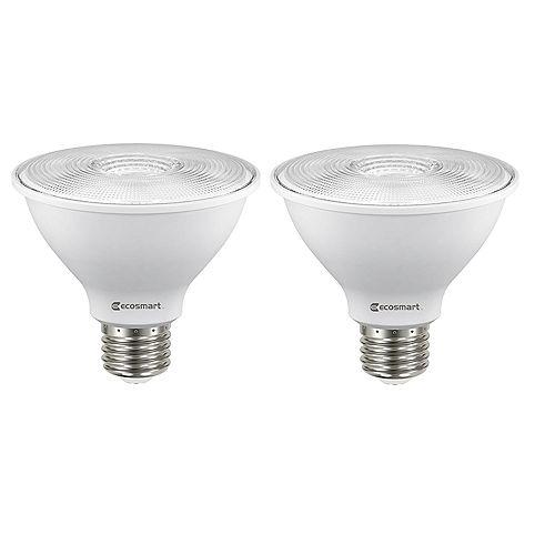 Ecosmart Amp. DEL à int. var. à col court PAR30 ENERGY STAR, équiv. de 75 W, 3 000 K, blanc brill., ens. de 2