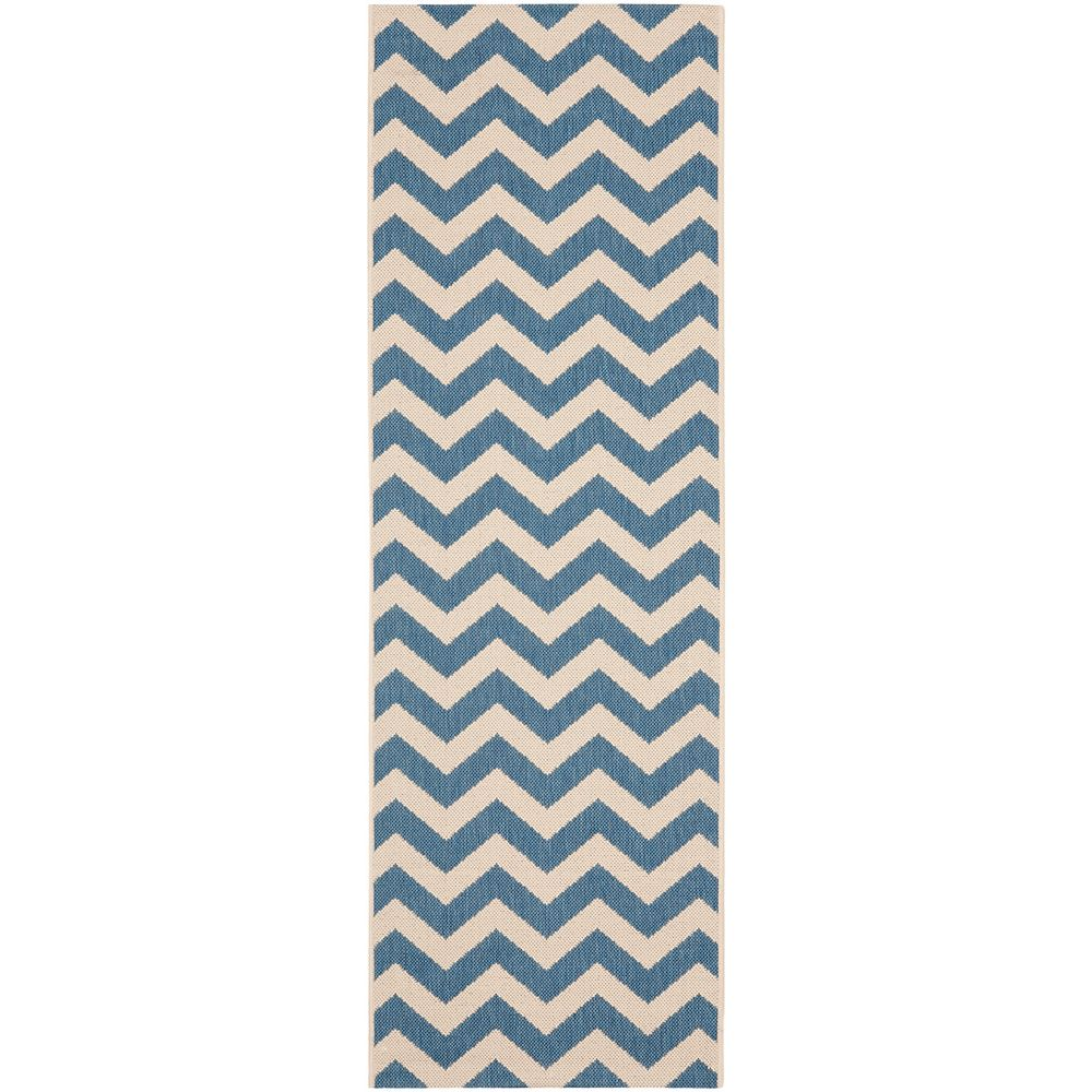 Safavieh Courtyard Jax Blue / Beige 2 ft. 3 inch x 10 ft. Indoor/Outdoor Runner
