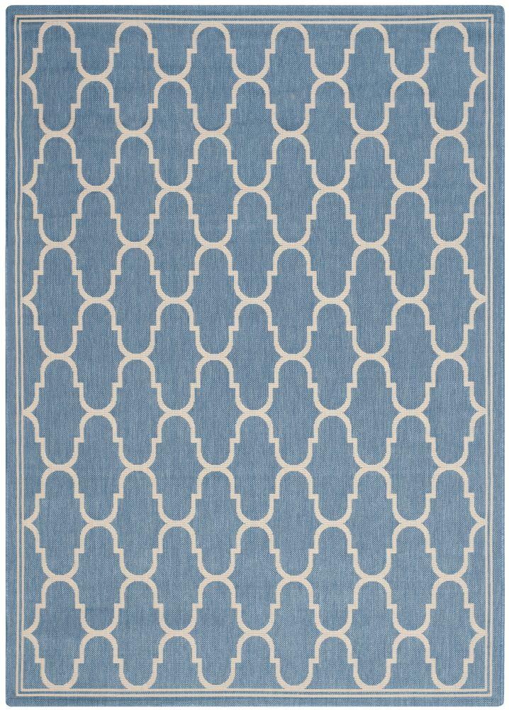 Tapis de passage d'intérieur/extérieur, 4 pi x 5 pi 7 po, style transitionnel, rectangulaire, bleu Courtyard