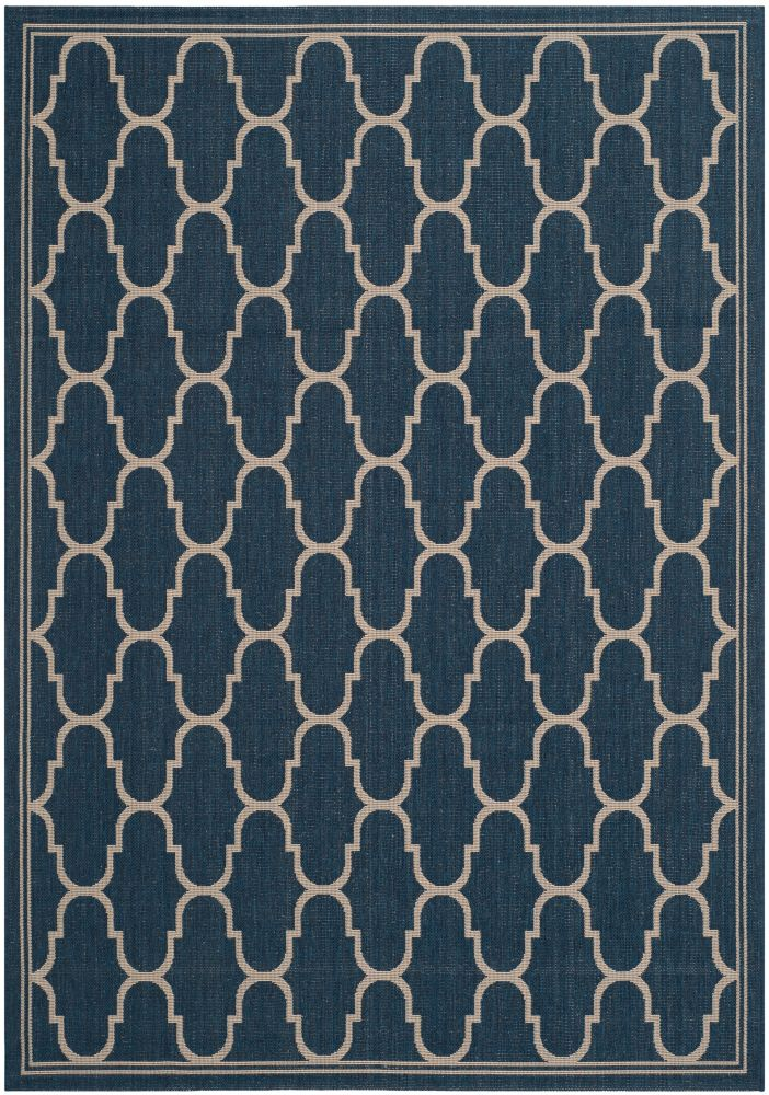 Courtyard Joey Navy / Beige 4 ft. x 5 ft. 7 inch Indoor/Outdoor Area Rug