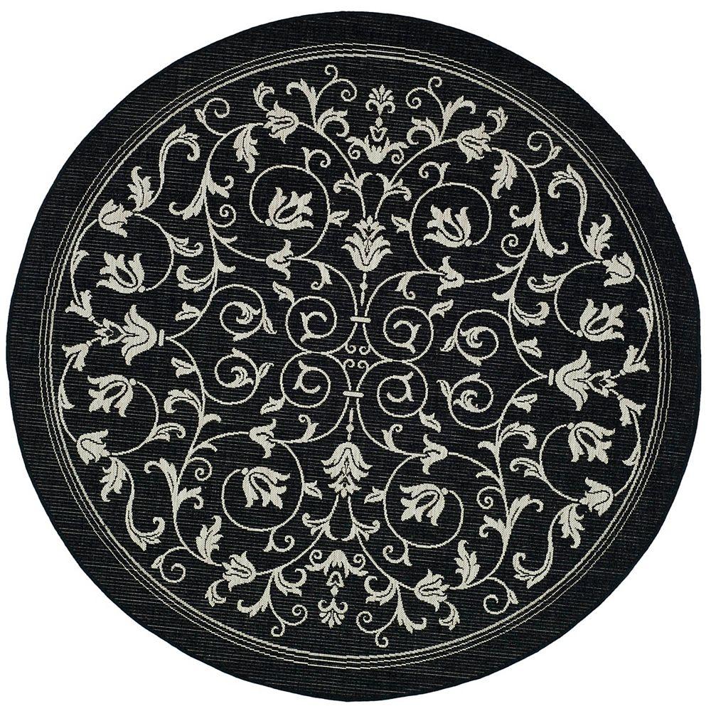 Safavieh Tapis de passage d'intérieur/extérieur, 5 pi 3 po x 5 pi 3 po, style transitionnel, rond, noir Courtyard