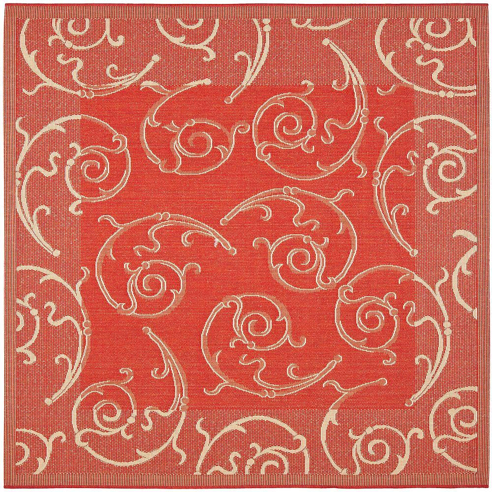 Safavieh Carpette d'intérieur/extérieur, 7 pi 10 po x 7 pi 10 po, style transitionnel, carrée, rouge Courtyard