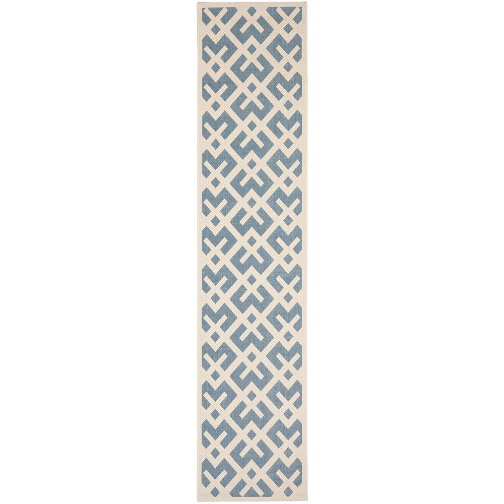 Safavieh Courtyard Leia Blue / Bone 2 ft. 3 inch x 14 ft. Indoor/Outdoor Runner