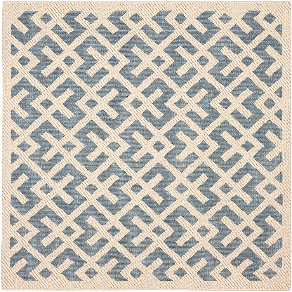 Safavieh Tapis de passage d'intérieur/extérieur, 4 pi x 4 pi, style transitionnel, carré, os Courtyard