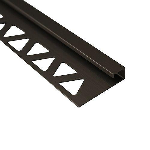 1/2 inch (12 mm) Square Tile Edge 8 ft Satin Titanium