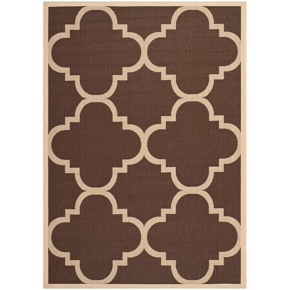 Safavieh Tapis de passage d'intérieur/extérieur, 5 pi 3 po x 7 pi 7 po, style transitionnel, rectangulaire, brun Courtyard