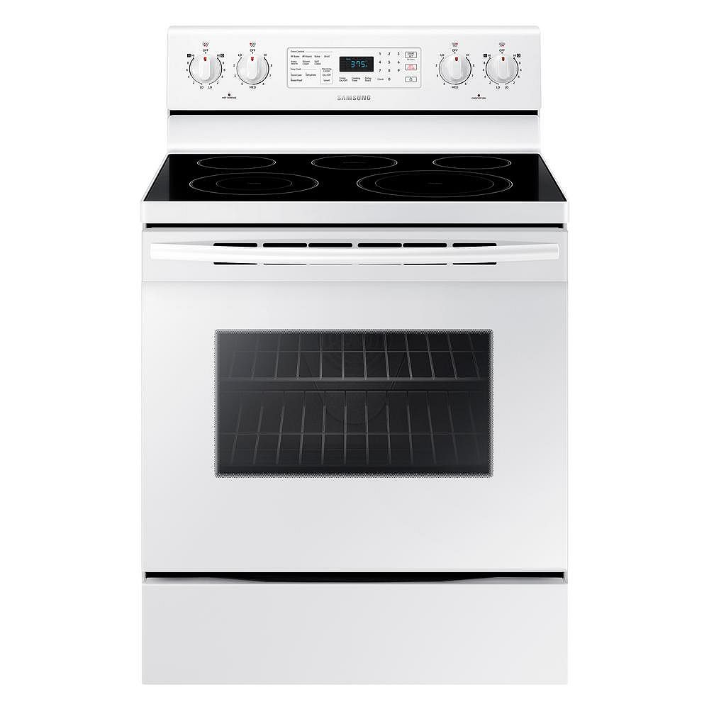 Samsung 5.9 cu.ft Single Oven Electric Range with Self-Cleaning Convection Oven in White