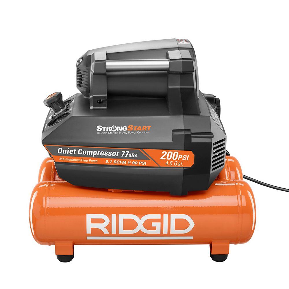 RIDGID 200 Psi 4.5 Gal. Electric Quiet Compressor