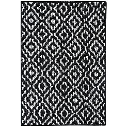 Petit tapis d'appoint rectangulaire Grayson, 2pi x 4pi, noir