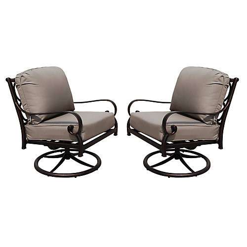 Cast Aluminum Deep Seating Swivel Rocker Chair (Set of 2)