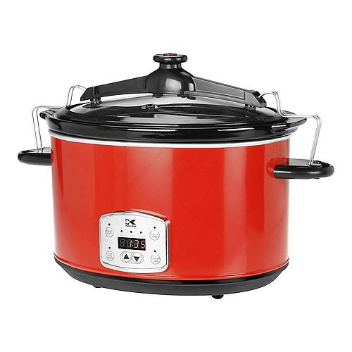 8L Digital Slow Cooker with Locking Lid in Red