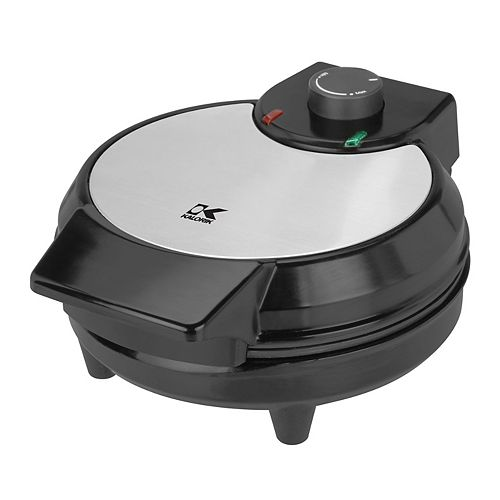 Traditional Belgian Waffle Maker in Black and Stainless Steel