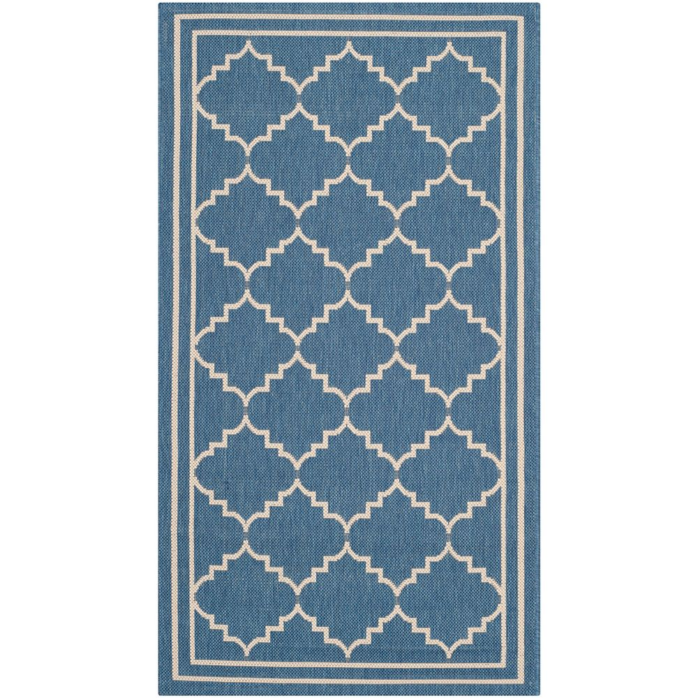 Safavieh Tapis de passage d'intérieur/extérieur, 4 pi x 5 pi 7 po, style transitionnel, rectangulaire, bleu Courtyard