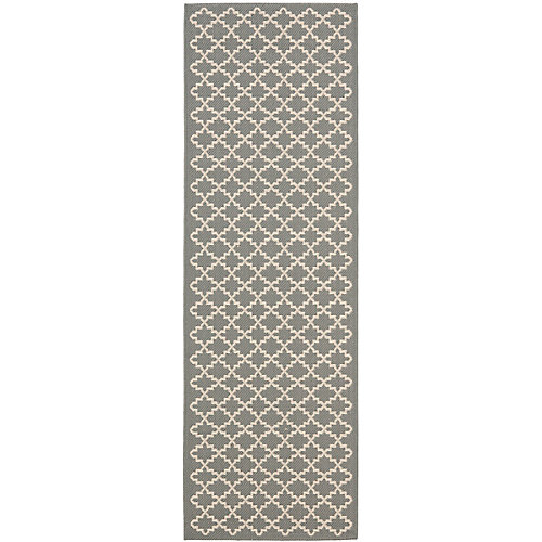 Courtyard Jay Anthracite / Beige 2 ft. 3 inch x 8 ft. Indoor/Outdoor Runner