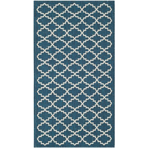 Courtyard Jay Navy / Beige 2 ft. x 3 ft. 7 inch Indoor/Outdoor Area Rug