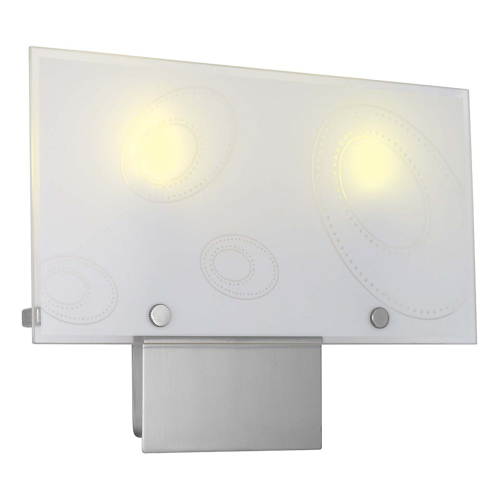 Eglo Indo 1 Wall Light 2L, Matte Nickel Finish with White Designed Glass