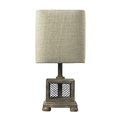 Lampe avec minitable Delambre au fini gris Montauk