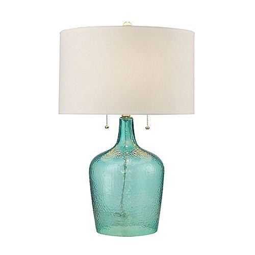 Lampe de table Hatteras en verre martelé au fini brise de mer