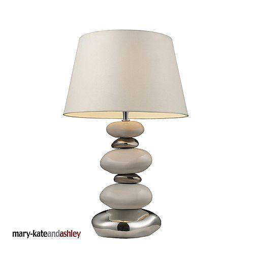 Lampe de table Elemis au fini blanc pur et chrome