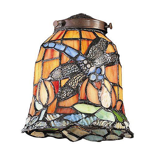 Abat-jour en verre Tiffany au motif de libellule Mix-N-Match vendu seul pour luminaire à 1ampoule
