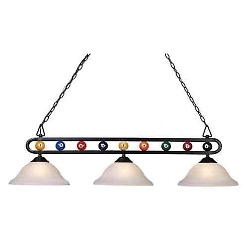 Chalkie 3-Light Billiard-Themed Kitchen Island Light in Matte Black with White Shade