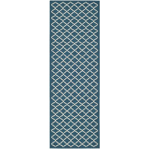 Courtyard Jay Navy / Beige 2 ft. 3 inch x 8 ft. Indoor/Outdoor Runner