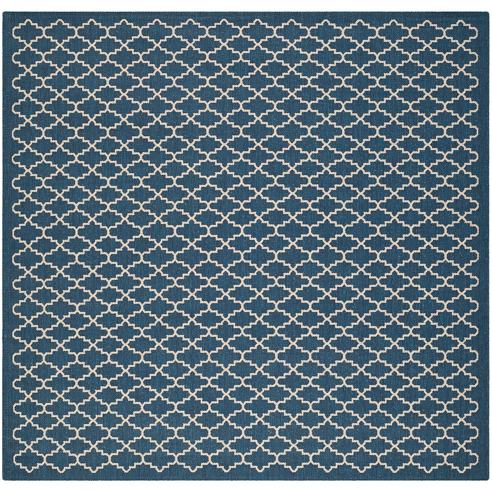 Safavieh Tapis de passage d'intérieur/extérieur, 4 pi x 4 pi, style transitionnel, rond, bleu Courtyard