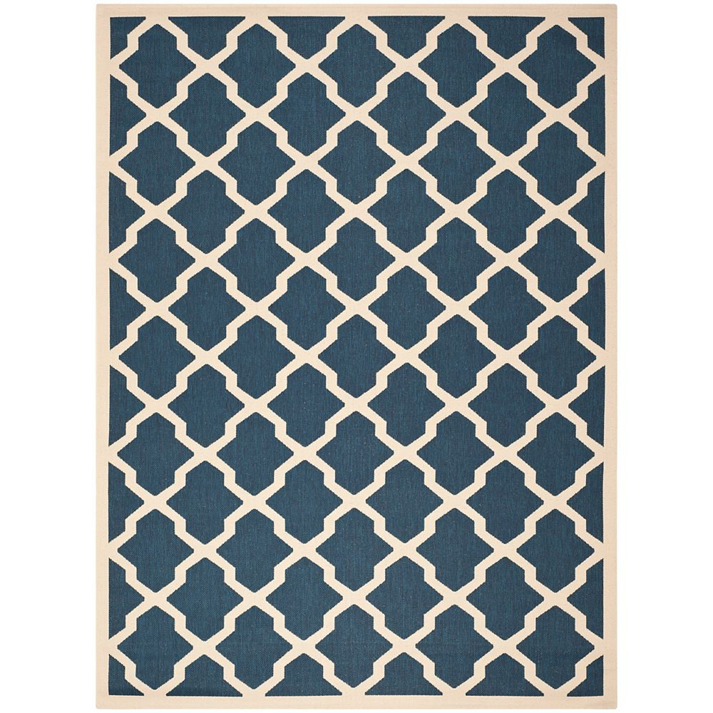 Safavieh Tapis de passage d'intérieur/extérieur, 6 pi 7 po x 9 pi 6 po, style transitionnel, rectangulaire, bleu Courtyard