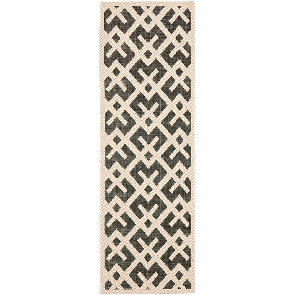 Safavieh Courtyard Leia Black / Beige 2 ft. 3 inch x 10 ft. Indoor/Outdoor Runner