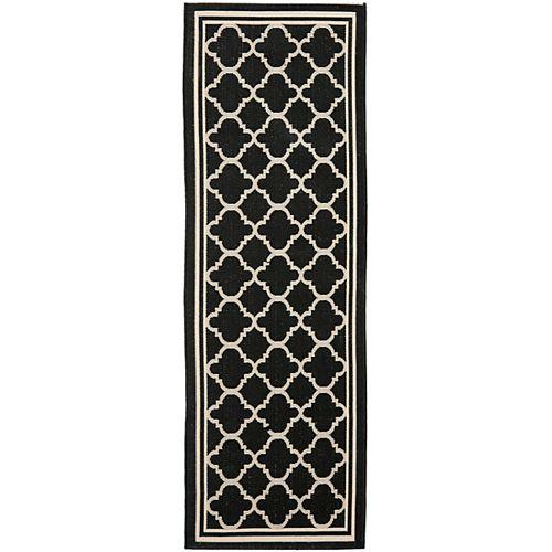 Courtyard Sherry Black / Beige 2 ft. 3 inch x 6 ft. 7 inch Indoor/Outdoor Runner