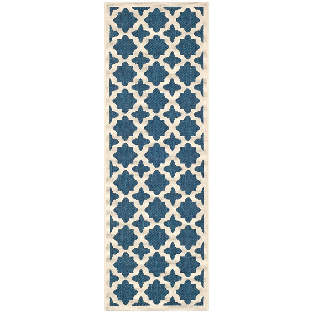 Safavieh Tapis de passage d'intérieur/extérieur, 2 pi 3 po x 6 pi 7 po, style transitionnel, bleu Courtyard