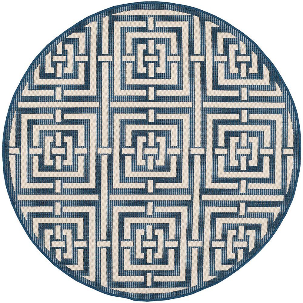 Safavieh Tapis de passage d'intérieur/extérieur, 5 pi 3 po x 5 pi 3 po, style transitionnel, rond, bleu Courtyard