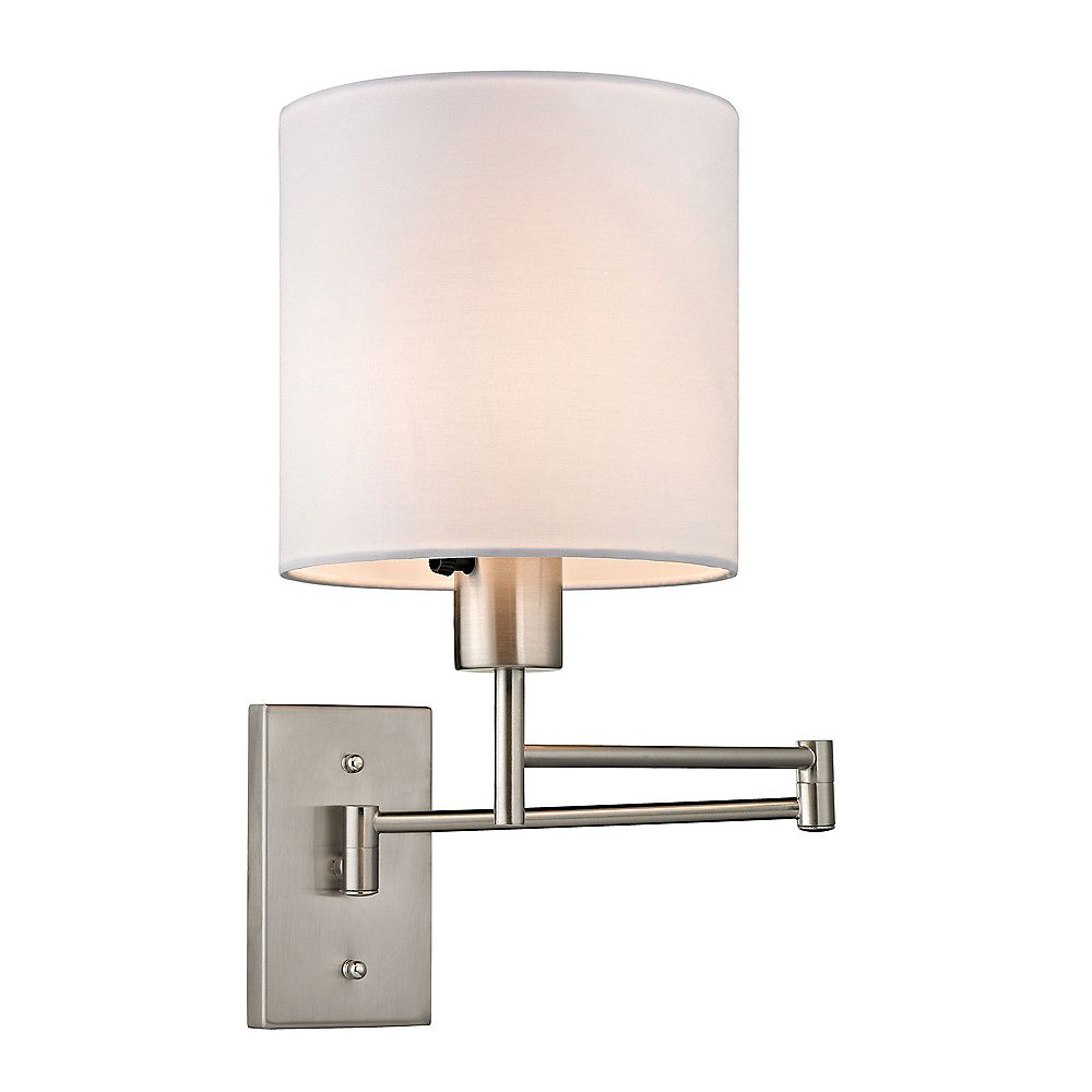 Titan Lighting Aspen Collection 1-Light Brushed Nickel Swing Arm Sconce