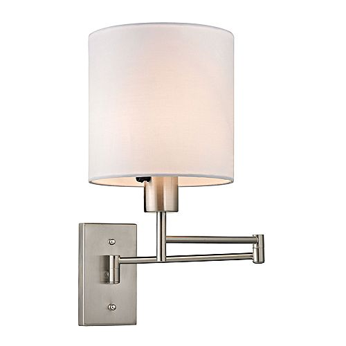 Aspen Collection 1-Light Brushed Nickel Swing Arm Sconce