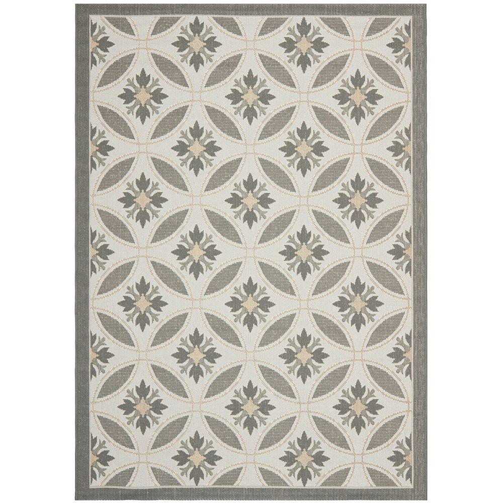 Safavieh Tapis de passage d'intérieur/extérieur, 6 pi 7 po x 9 pi 6 po, style transitionnel, rectangulaire, gris Courtyard