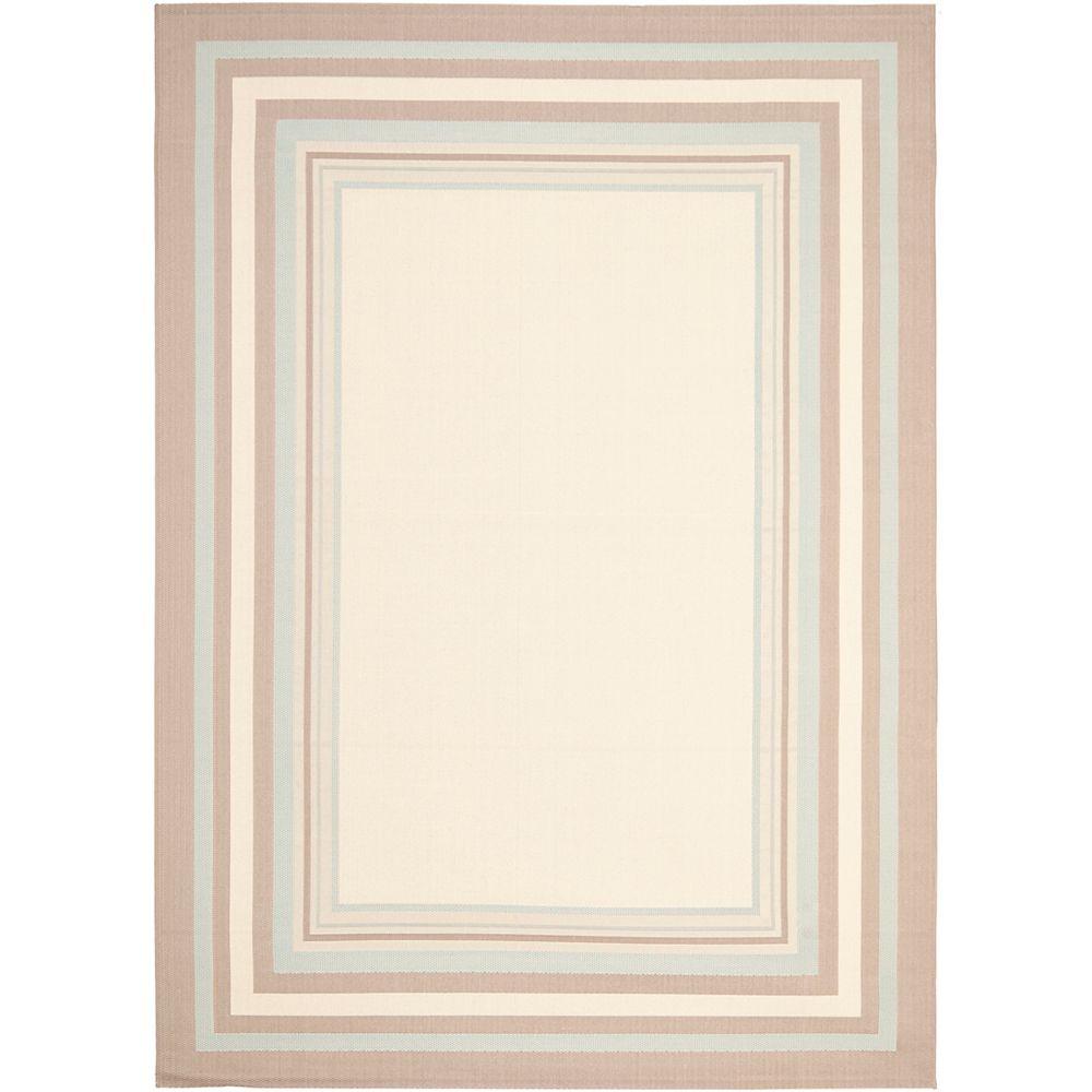 Safavieh Tapis de passage d'intérieur/extérieur, 6 pi 7 po x 9 pi 6 po, style transitionnel, rectangulaire, beige Courtyard