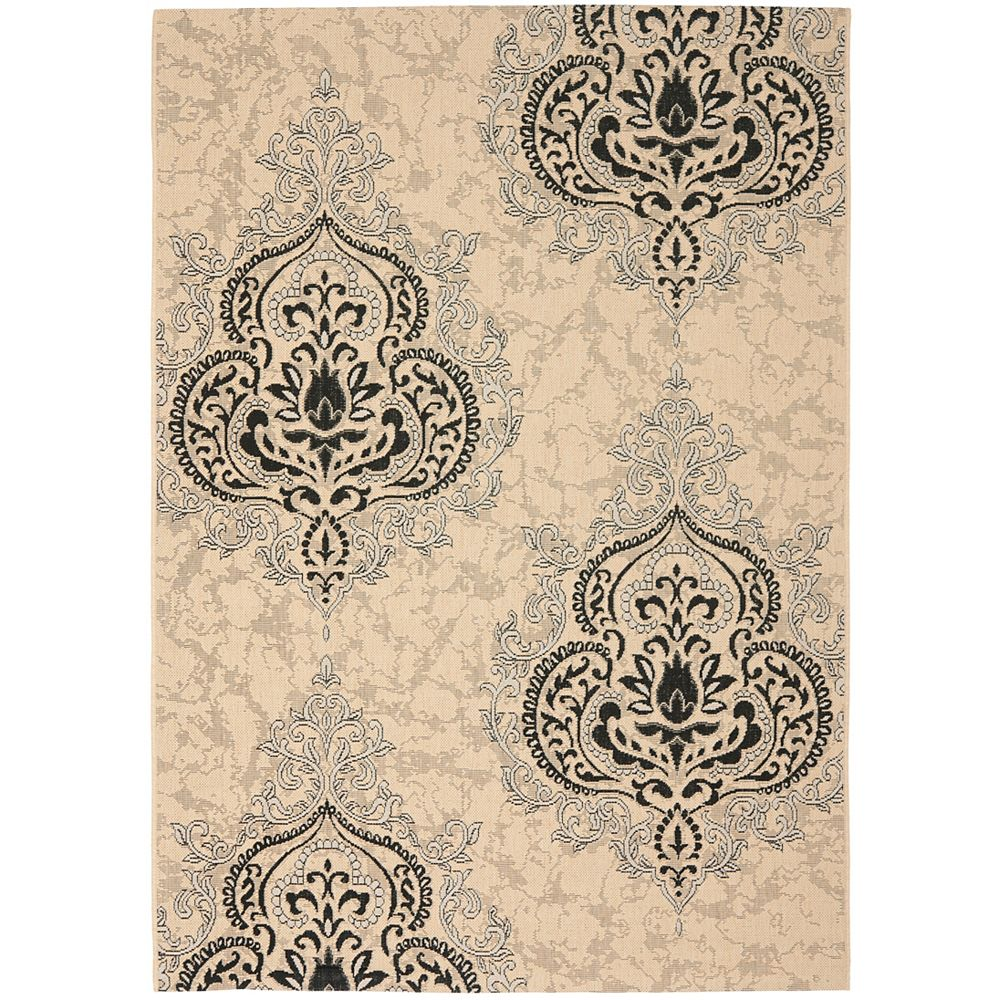 Safavieh Courtyard Anthony Cream Black 5 Ft 3 Inch X 7 Ft 7 Inch Indoor Outdoor Area R The Home Depot Canada