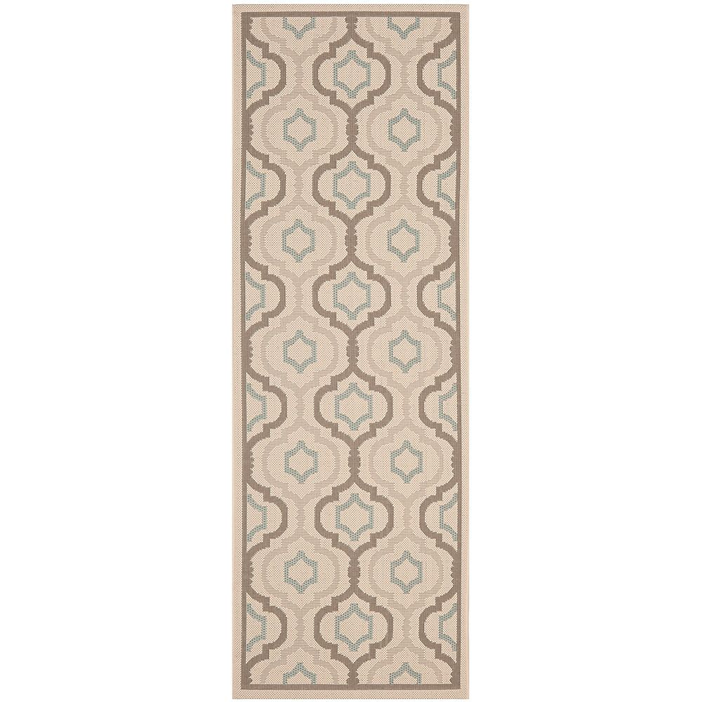 Safavieh Courtyard Li Beige / Dark Beige 2 ft. 4 inch x 12 ft. Indoor/Outdoor Runner