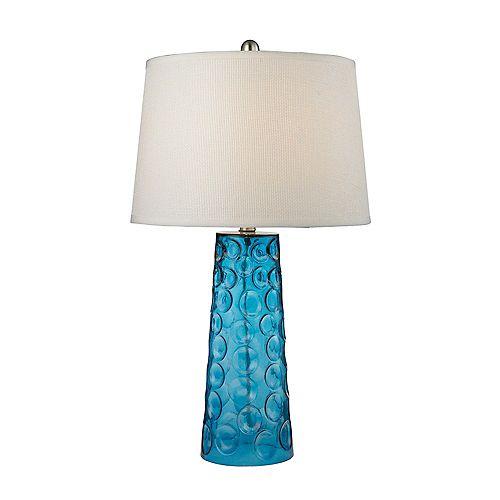 Lampe de table en verre martelé au fini bleu avec abat-jour en lin blanc pur