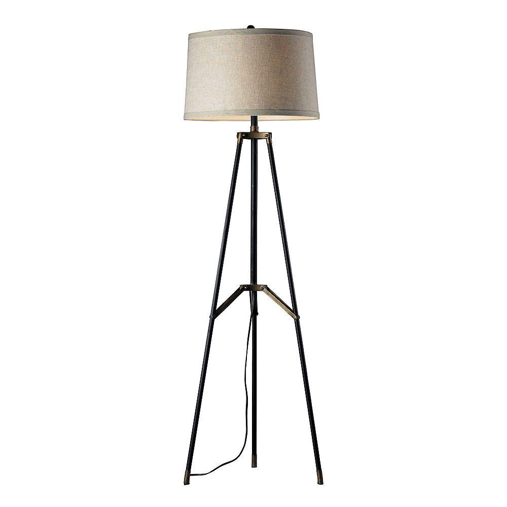 Titan Lighting Lampe trépied fonctionnelle au fini Restauration noir et or vieilli