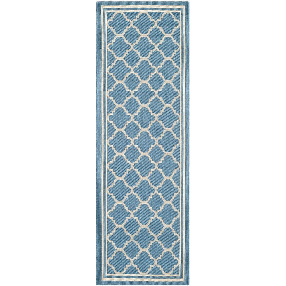Safavieh Tapis de passage d'intérieur/extérieur, 2 pi 3 po x 22 pi, style transitionnel, bleuCourtyard