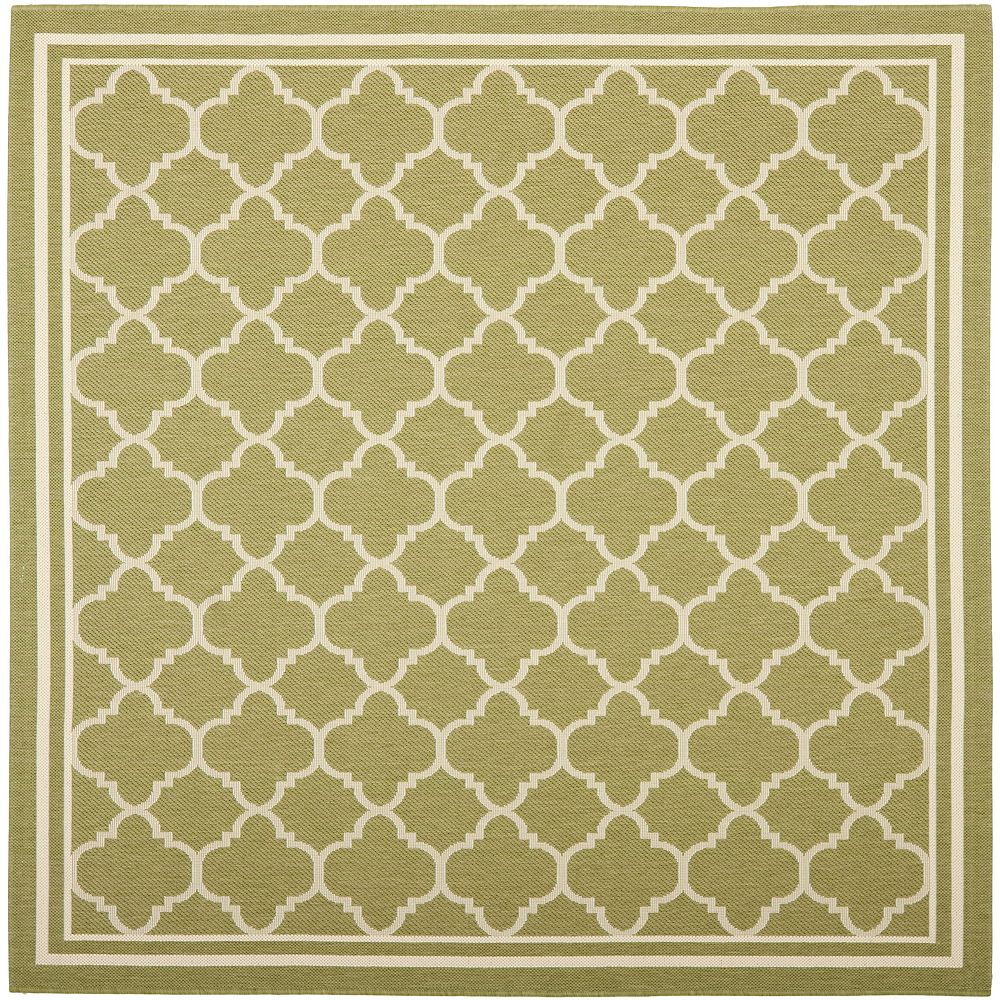 Safavieh Courtyard Sherry Green / Beige 7 ft. 10 inch x 7 ft. 10 inch Indoor/Outdoor Square Area Rug