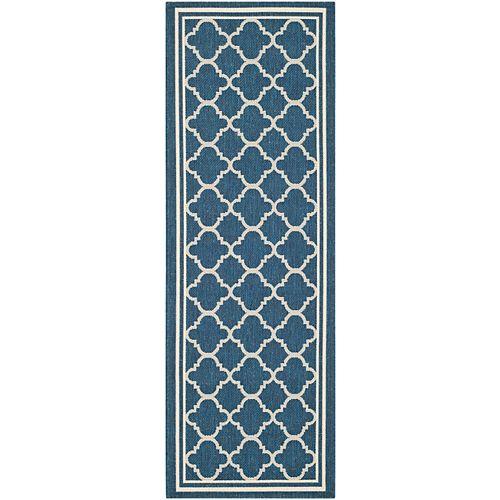 Tapis de passage d'intérieur/extérieur, 2 pi 3 po x 6 pi 7 po, style transitionnel, bleu Courtyard