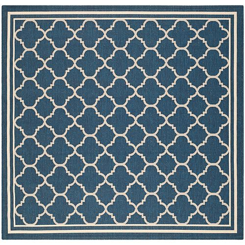 Courtyard Sherry Navy / Beige 4 ft. x 4 ft. Indoor/Outdoor Square Area Rug