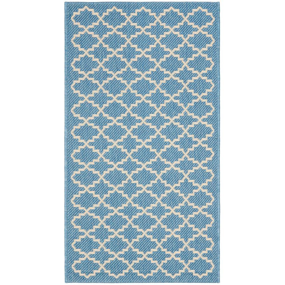 Safavieh Tapis de passage d'intérieur/extérieur, 2 pi 7 po x 5 pi, style transitionnel, rectangulaire, bleu Courtyard