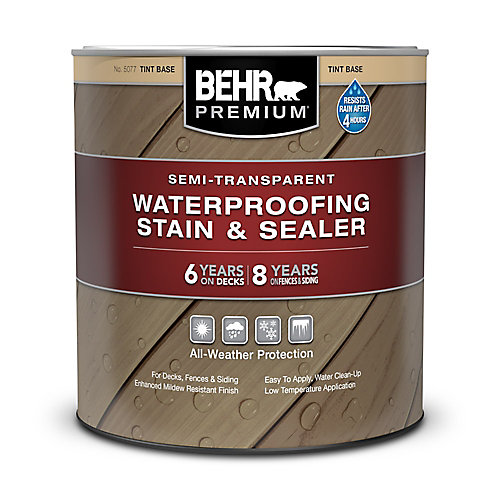 Semi-Transparent Weatherproofing Wood Stain - Tint Base, 946 mL
