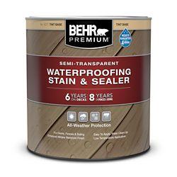 BEHR PREMIUM Semi-Transparent Waterproofing Stain & Sealer - Tint Base, 946mL