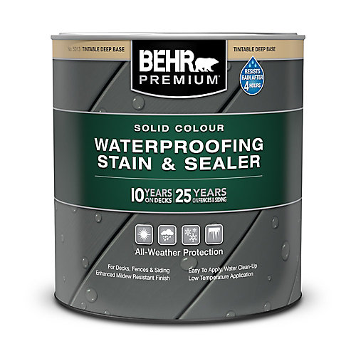 PREMIUM Solid Colour Weatherproofing Stain & Sealer - Deep Base No. 5013, 946 mL