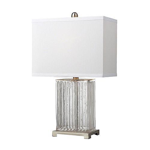 Lampe de table en verre strié transparent au fini acier brossé